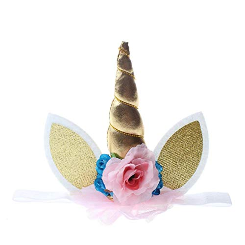 SJSXT Popular Toys Lovely Elastic Flower Lace Unicorn Horn Decoration Girls Decorative Decoration Halloween Costume Plush -