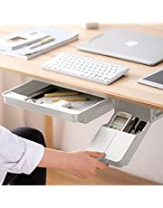 $26 » Under Desk Drawer Organizer Set, Hidden Slide Out Desk Organizers and Storage, Self-Adhesive Pencil Drawer Tray, Office School Home Desk Storage Drawers Organizer for Space Saving, Pack of 2