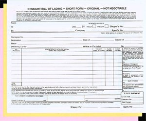Exceptional Straight Bill Of Lading   NO IMPRINT