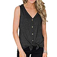 NUWFOR Womens Button V-Neck Sexy Vest Fashion Camisole Tops Sleeveless T-Shirt White