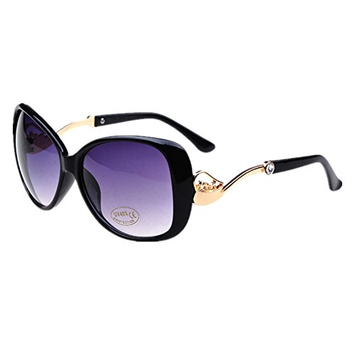 HUASHI Women's Big Box Frog Mirror Sunglasses Metal Small Horse Cart Sunglasses High Temperament Color - Ray Sunglasses Band