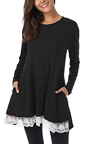 Payeel Womens Spring Autumn Long Sleeve Solid Sewing Loose Tunic Dress (Black and White, XXL)