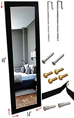 Homeco Design Over The Door Mirror Wall Mirror 14 X 48 Full Length Black Wooden Furniture Frame Hardware And Instructions Included