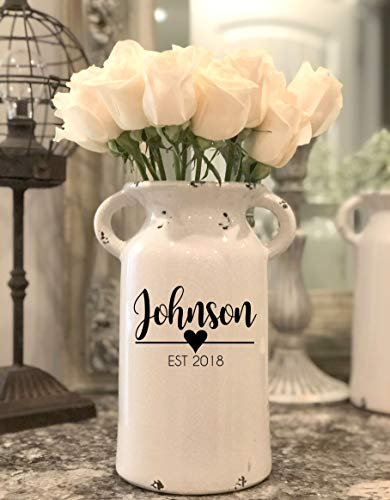 Personalized Ceramic Milk Can - Personalized Milk Can - Personalized Wedding Gifts - Farmhouse Milk Can - Housewarming Gift - Personalized Flower Vase