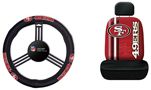 Fremont Die NFL San Francisco 49ers Rally Seat Cover with Leather Steering Wheel Cover, One Size, Black