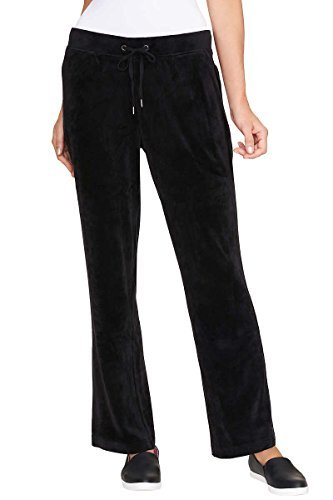 Gloria Vanderbilt Ladies' Jemma Ultra Soft Velour Pants (Black, Large) ()