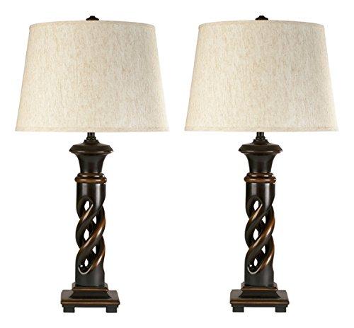 Ashley Furniture Signature Design - Fallon Table Lamp - Classic French Turned Wood Design - Set of 2 - Black