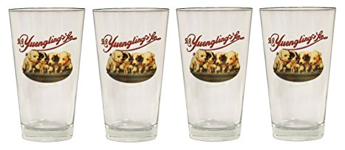 Yuengling & Son Beer Puppy Logo Set of Four Pint Glasses