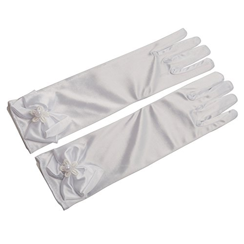 Lusiyu Girl Solid Color Long Elbow Length Formal Pageant Glove (white 01) ()