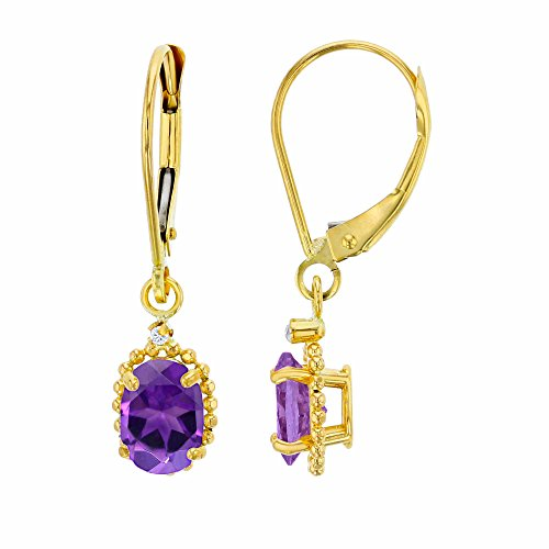 14K Yellow Gold 1.25mm Round Created White Sapphire & 6x4mm Oval Amethyst Bead Frame Drop Leverback Earring