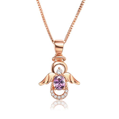 (SKA Jewelry Angel Necklace for Girls Women Purple Cubic Zirconia Lovely Angel with Wings Pendant Chain Necklace Adjustable 20