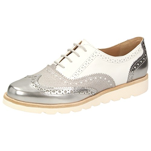 Stringate Donna Brouge Linen Velika Linen Sioux Weiss 009 Argento Scarpe Bxf6wn