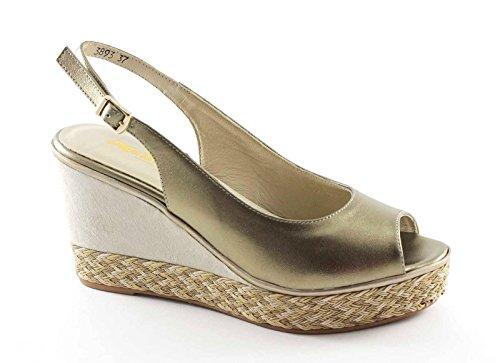 MELLUSO R70806 zapatos amanecer platino correa de la mujer de cuña de la sandalia Oro