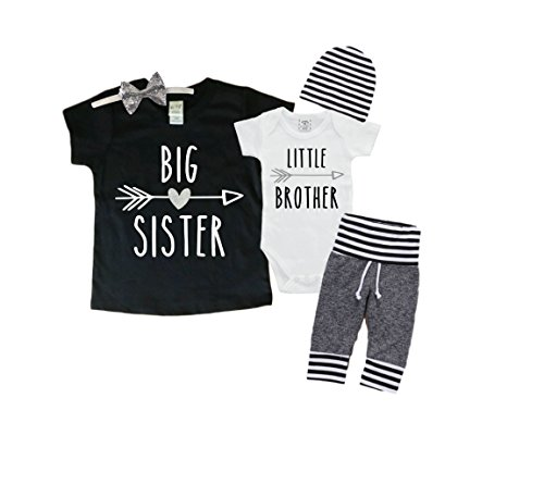 Big Sister/Little Brother Set. Matching Big Sister Little Brother Set 0-3Mo Bodysuit & 3T Shirt ()