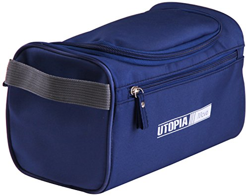 Utopia Home Toiletry Travel Bag (Polyester, Blue) - for Men and Women - Perfect for Travelling, Vacations Or Business Trips - Water Resistant with Mesh Pockets and Strong Hanging (Knob Polyester)