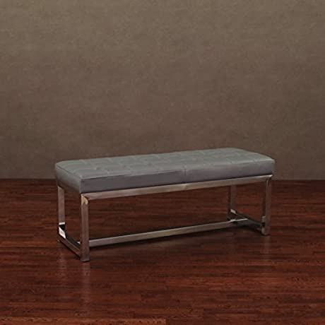 Liberty Charcoal Grey Indoor Leather Bench