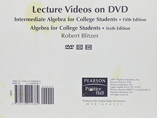 DVD Lecture Series for Intermediate Algebra for College Students