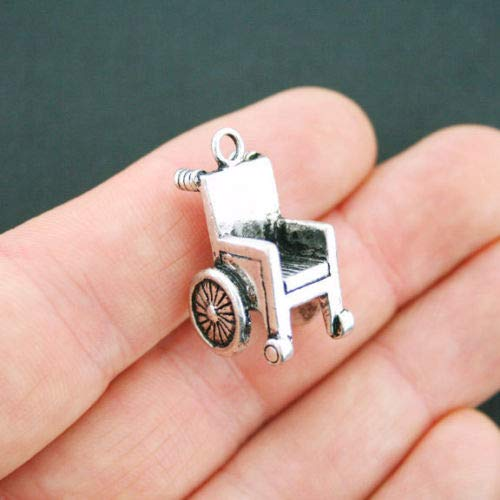 Jewelry Making 2 Wheelchair Charms Antique Silver Tone 3D - SC5121 Perfect for Pendants, Earrings, Zipper pulls, Bookmarks and Key Chains