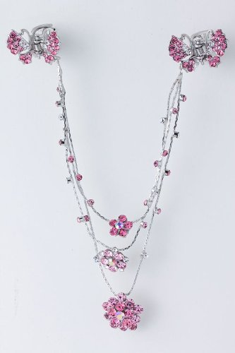 Fashion Hair Accessory ~ Fuchsia Pink Crystals with Flowers and Butterfly Design Hair