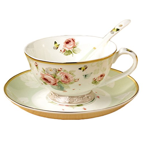 ufengke Vintage Bone China Coffee Cup Set, Tea Cup with Saucer and Spoon, Hand-Painted Flower and Butterfly, 220ml, -