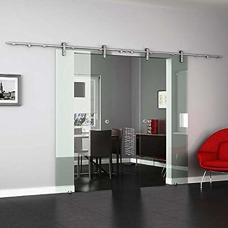 Protector de pantalla de cristal para puerta corredera con VA de vidrio transparente, acero inoxidable con