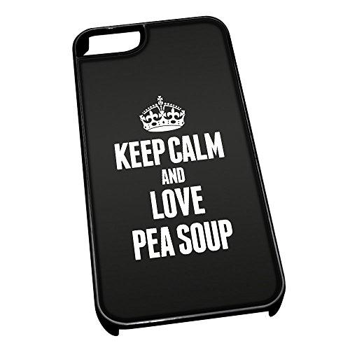 Nero cover per iPhone 5/5S 1369nero Keep Calm and Love zuppa di piselli