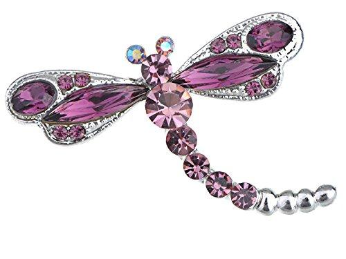Alilang Womens Silvery Tone Amethyst Purple Colored Rhinestones Dragonfly Brooch Pin