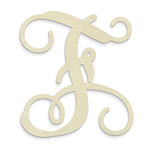 UNFINISHEDWOODCO Single Vine Unfinished Monogram F Decorative Letter, 13-Inch]()