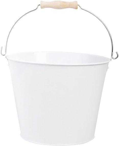 Esschert Design zinc cubo, blanco, capacidad 5 litros, jardín cubo, maceta, cubo, con asa: Amazon.es: Hogar