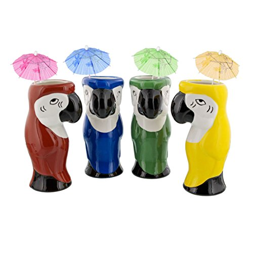 Parrot Large Mug - Parrot Ceramic Tiki Mugs - 16 oz - Set of 4 + (144) Drink Umbrellas