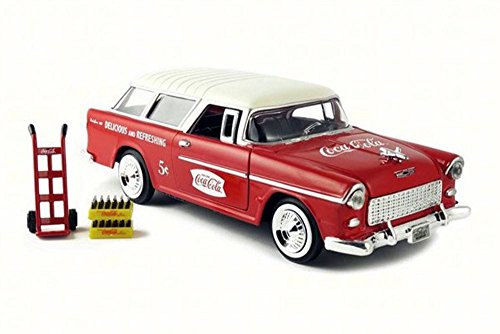 1955 Chevy Bel Air Nomad Wagon, Red w/ White Top - Motor City Classics 424110 - 1/24 Scale Diecast Model Toy Car (Car Diecast Model Wagon)