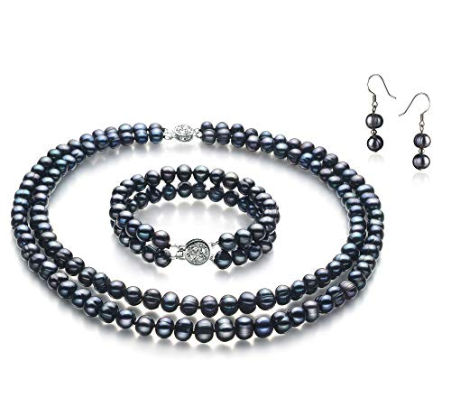 Julika Black 6-7mm Double Strand A Quality Freshwater Cultured Pearl Set for Women-16 in Chocker Length