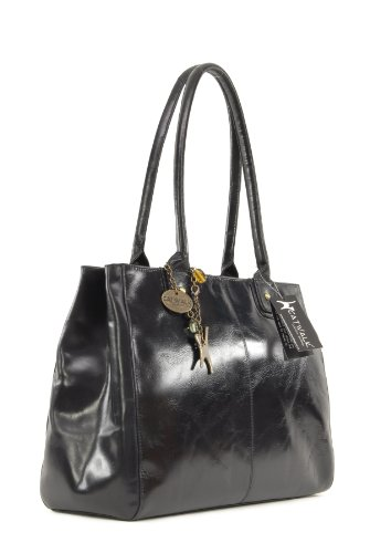 CATWALK COLLECTION - KENSINGTON - Bolso de hombro estilo shopper - Cuero vintage - Grande Negro