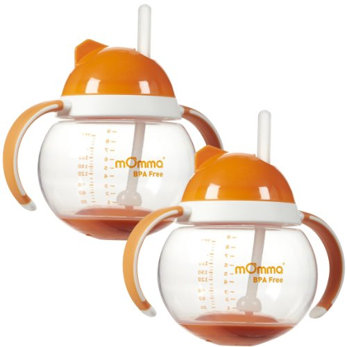 Lansinoh mOmma Straw Cup with Dual Handles, Orange - 2 Pack