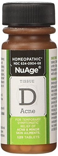 NuAge Homeopathic Tissue D Acne Remedy, Natural Relief of Acne and Minor Skin Ailments, 125 Count - Homeopathic Remedies Psoriasis