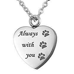VALYRIA Memorial Always with you Pet Paw Cremation Urn Pendant Keepsake Ashes Necklace
