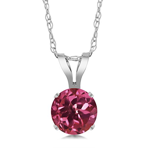 (Gem Stone King 0.50 Ct Round Pink Tourmaline 14K White Gold Pendant With Chain)