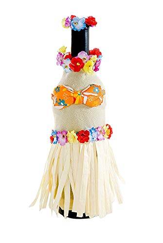 Fun Wine Bottle Cover by Wine Wear [Hula Girl] - Wine bottle dress-up for Hawaiian, beach, luau, retirement, cookout party, gift or decoration