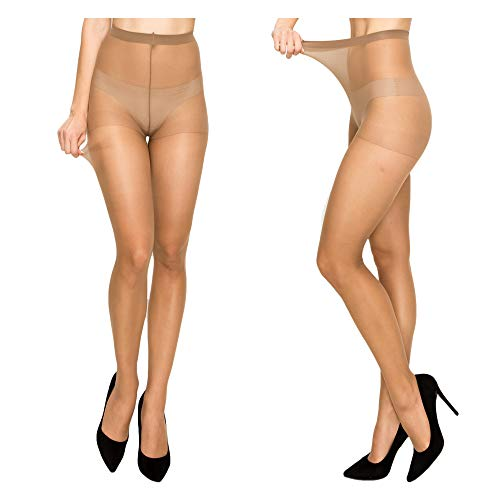 Women High Support Pantyhose Stockings - Silky Soft Light weight Comfortable Stretchy Waistband Sheer Nylon and Spandex Hosiery Panty hose with Reinforced Toe for Woman - Plussize California Sun