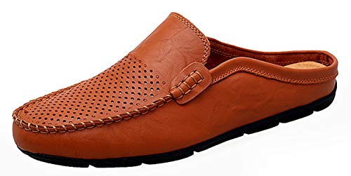 58ca33332f10c Go Tour Mens Mules Clog Slippers Breathable Leather Slip on Shoes Casual  Loafers Brown Punched 11.5/48