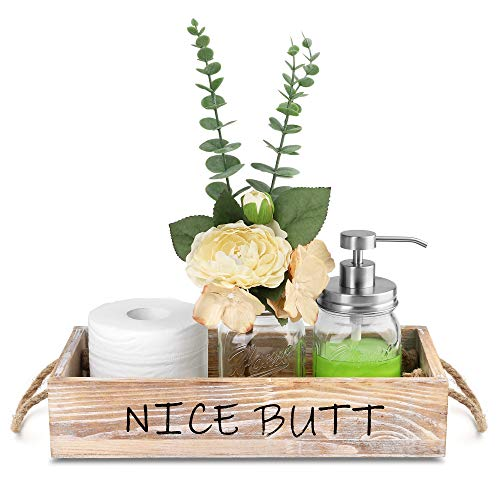 HOMKO Toilet Paper Bathroom Decor Box with Two Mason Jars and Artificial Flower Wooden Bathroom Box for Toilet Paper…