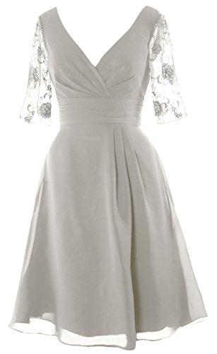 Dress Sleeves Dress Half Mother the V Short Women Neck of Bride Elfenbein MACloth Cocktail 76qAYWSw5