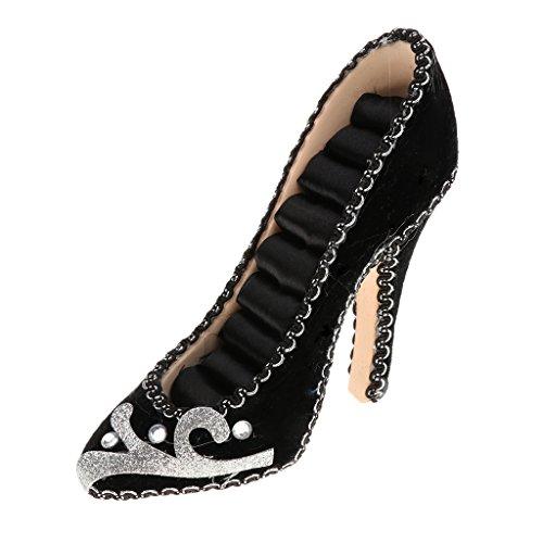 High-heel Shoe Ring Display Jewelry Holder Silver-tone Trim - Black (Holder Trim)
