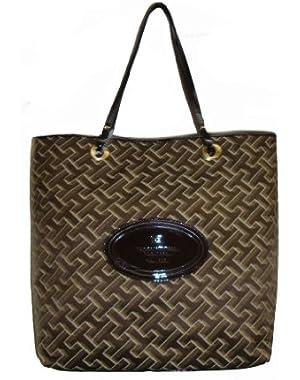 Women's Mag Tote Handbag, Large Logo, Large, Brown