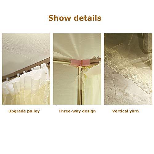 Three Open Doors Mosquito Net Bed Canopy Floor-Standing Rail Type Folding Retractable Net Tent Indoor Decorative,Purple,150200CM by LINLIN MOSQUITO NET (Image #2)