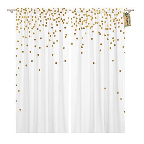 Golee Window Curtain Yellow Gold Polka Dot Confetti Falling Golden Light Abstract Home Decor Rod Pocket Drapes 2 Panels Curtain 104 x 96 inches - Dot Rod Polka