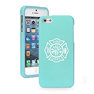 Apple iPhone 5 5s Snap On 2 Piece Rubber Hard Case Cover Fire Department Maltese Cross (Light Blue)