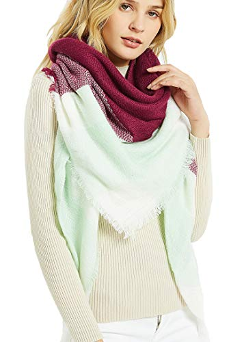 Wander Agio Womens Warm Scarf Square Shawls Large Infinity Scarves Stripe Plaid Scarf