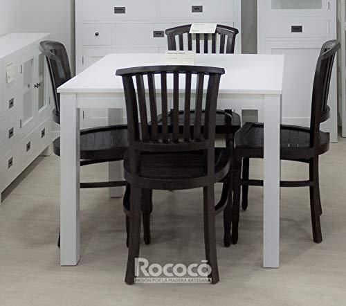 Rococo Mesa Cuadrada Blanca de Comedor Inay 100cm: Amazon.es: Hogar