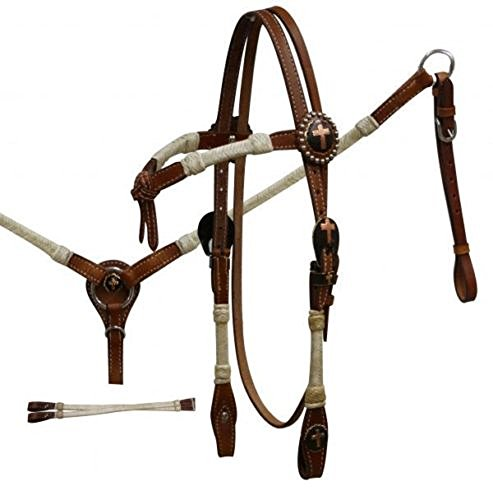 Showman Cross Conchos Med Oil Rawhide Wrapped Leather Horse Bridle Breast Collar ()